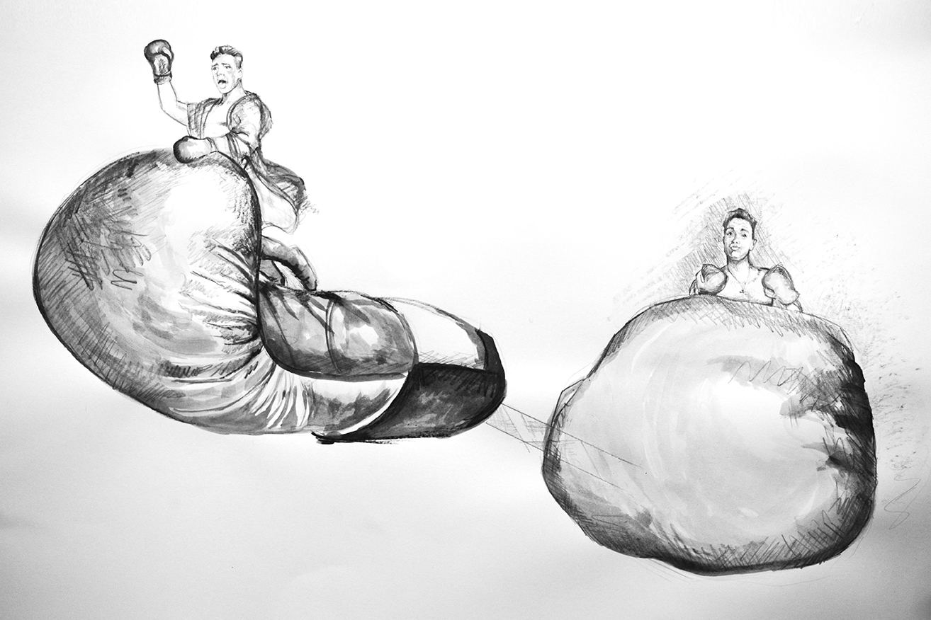 Perry Scenic Creative's Jacqui Pyle sketches the boxing glove concept for Robbie Williams' Heavy Entertainment Tour