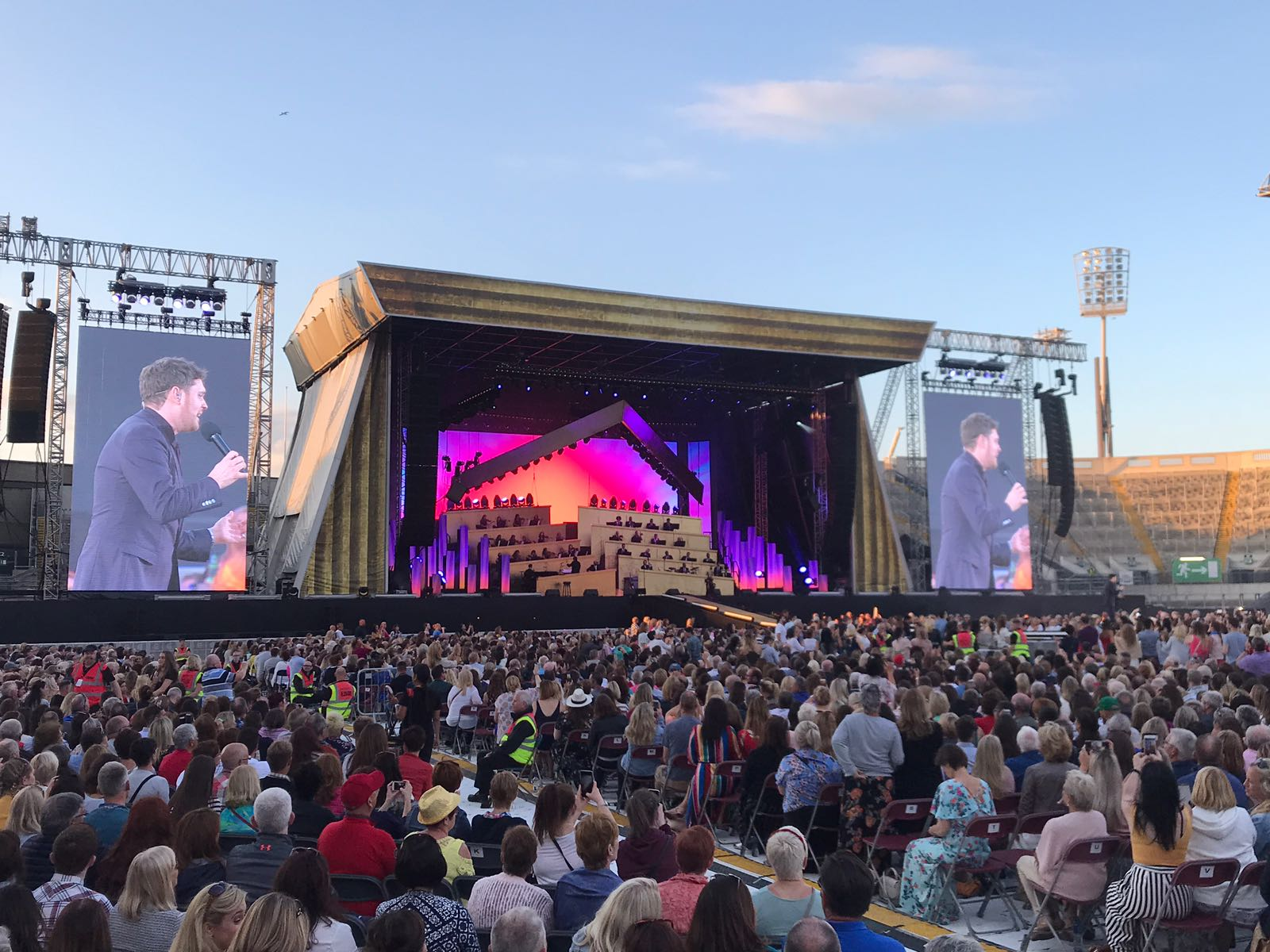 Michael Bublé performing in front of 70,000 fans at Croke Park, Dublin
